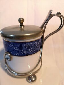 CRESENT, BLUE AND WHITE PRESERVE POT WITH EPNS HOLDER