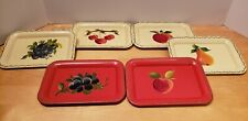 VINTAGE SET OF 6 NASHCO PRODUCTS SERVING TRAYS NEW YORK FRUIT HAND PAINTED
