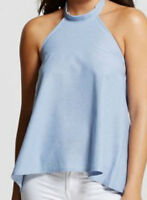 NWT WOMEN'S TIE BACK HALTER TOP CHAMBRAY - VANITY ROOM