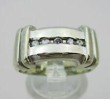 Vintage Large 14k White Gold & Diamond Ring. Size M1/2 6.1 Grams.