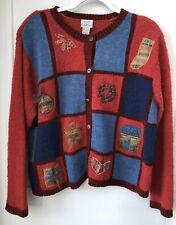 Koret City Blues Women's Large Christmas Sweater Red Cardigan Patchwork Applique