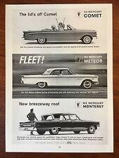 Vintage 1963 Original Print Ad MERCURY Monterey-Meteor-Comet Convertible