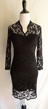 Sexy NWT Asos Black Flower Lace Detail Mini Cocktail Club Fitted Bodycon Dress