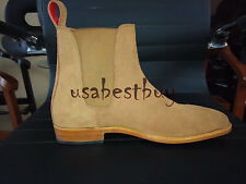New Latest Handmade Mens Beige Chelsea Suede Leather Boots, Chelsea leather boot