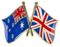 Australia UK Badge Flag Pin England Friendship Union Jack Metal Great Britain