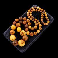 Antique Vintage Deco Chinese HUGE Butterscotch Egg Yolk Bakelite Bead Necklace