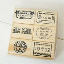 Wood Rubber Stamp Set - Holiday Travel Airmail Delivery