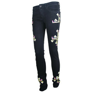 New Womens Embroidered Tribal Print Skinny Jeans Stretch Fit Soft Denim Trousers
