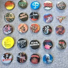 ORIGINAL 1980's ROCK Pinback Badges Heavy Metal Top Bands  Zeppelin Lot Of 24
