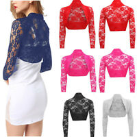Womens Sheer Lace Shrug Bolero Long Sleeve Wedding Bridal Cardigan Cropped Top