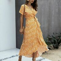 Casual summer Party Long beach women's Maxi Evening V Neck Women Long Sleeve