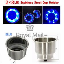 12V Marine Boat Car 8LED Blue Light Cup Drink Holder Stainless Steel UK Stock !