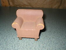 Vtg Doll House Miniature Strombecker Wood Deluxe Flocked Look Chair Furniture #2