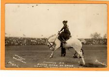 Real Photo Postcard RPPC - Rodeo Cowgirl Nettie Hawn on Snake 1913 Bowman Photo