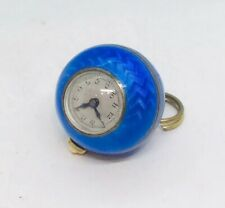 Antique Art Deco Sterling Silver Blue Enamel Guilloche Ball Watch Pendant