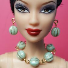 S871 Silkstone Barbie Fashion Royalty Doll Jewelry Green & Gold
