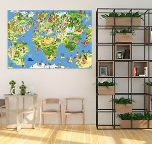 3D Animal Town KEP217 World Map Character Wall Mural Decal Stickers Poster Kay