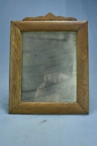 """Vintage OAK HANGING SHAVING MIRROR with TOP NOTCH 10.5"""" x 12.5"""" #09220"""