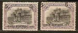 Guatemala Sc 149x2shiff ovpt Sc157 DOUBLE SURCH CONTAVOS instead CENT SEE SCAN