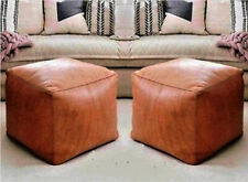 2 authentic moroccan pouffe Square Leather Pouf Moroccan Leather Pouffe Moroccan