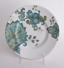 "222 Fifth Norah Teal SALAD PLATES Round 8 3/4"" Paisley SET 4 NEW"