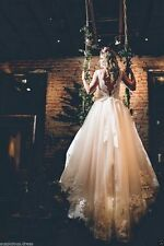 Vintage White ivory Lace Bridal Gown Wedding Dresses Custom 4 6 8 10 12 14 16 ++