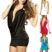 Women Sexy Deep V-Neck Bandage Bodycon Evening Party Cocktail Club Mini Dress