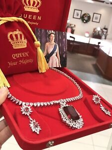 QUEEN INSPIRED RED RUBY DIAMOND NECKLACE COLLAR JEWELRY SET WITH EARRINGS