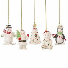 Lenox Merry Christmas Ornament Set of 5 Penguin Snowman Santa Tree Bear New