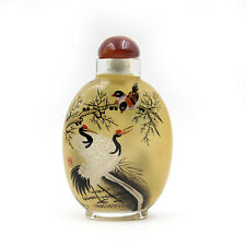 CHINESE INSIDE HAND PAINTED Happy Lucky Cranes SNUFF BOTTLE
