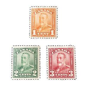 CANADA, SCOTT # 149-151(3),1c+2c+3c.VALUES 1928-29 PICTORIAL KGV ISSUE MH