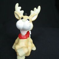 Vintage Ceramic Reindeer Moose Ornament Kitsch Tree Hanger Cartoon