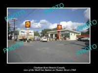OLD LARGE HISTORIC PHOTO CHATHAM KENT ONTARIO CANADA, SHEEL GAS STATION c1960
