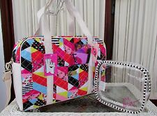 Luv Betsey Johnson Patchwork Weekender Travel Duffle Bag  w Cosmetic Case NWT