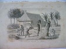 Orig.Litho 1862 Die lutherische Kapelle in Pudenur Indien Volkskunde