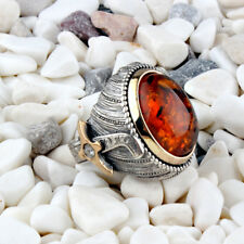 Handmade pure 925 SILVER amber stone rings Box for Men all size jewelry RRP £60