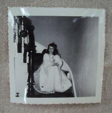 Halloween Child in Angel Costume Black & White Photo 1950s Original B