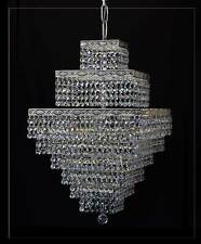 Orientalischer quadratischer Kronleuchter mit echtem Kristall.Antik Silberfarben
