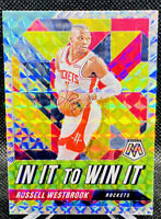 Russell Westbrook 2019-20 Mosaic Silver Prizm In It To Win It Houston Rockets
