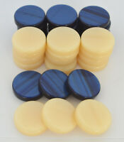 30 Acrylic Backgammon Checkers - Chips Blue & Ivory 1.4 inches - High Quality