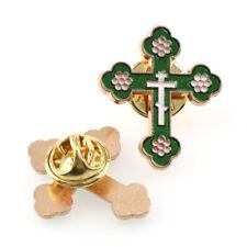 Green Enamel  Cross Lapel Pin (2 pieces)
