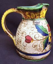 Deruta Water Pitcher Pottery ARS Decanter Flowers Hand Painted In Italy  3403