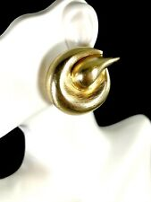 PATRICIA VON MUSULIN VERMEIL 925 STERLING  SCULPTURAL ART SWIRL CLIP EARRINGS