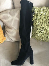 Carvela Thigh High Black Suede heeled boots - size 4