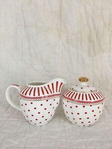 Ceramic Sugar And Cream set Res And White