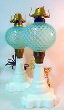 PAIR VTG Oil Kerosene Victorian Parlor STYLE Lamps  Milk Glass Bases