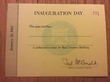 1965 President Lyndon Johnson INAUGURAL PARADE Inauguration Yellow Treasury Pass