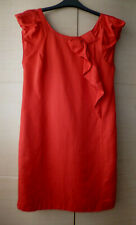 BRIGHT RED, LINEN-MIX DRESS OASIS - CAP SLEEVES - ABOUT UK 10