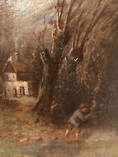 Rare 19th Century Small English School Landscape Oil Painting c