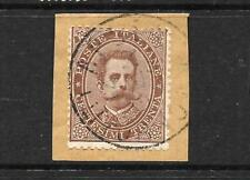 ITALY  1879-82  30c  BROWN   FU on Piece       SG 35